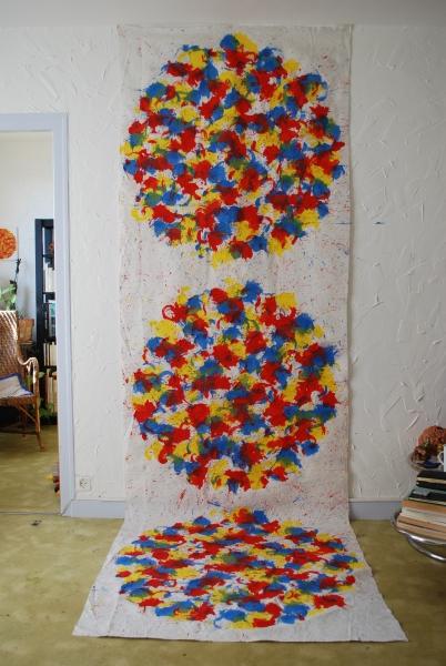 acrylique sur tissu, 355 x 115 cm