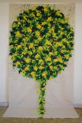 acrylique sur tissu, 305 x 160 cm. Cette série sur tissu libre comporte une vingtaine d