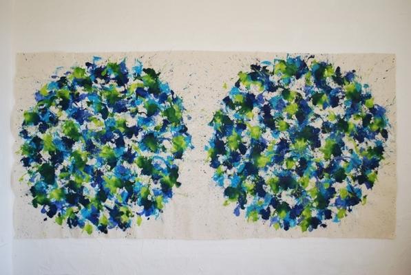 acrylique sur tissu, 150 x 310 cm