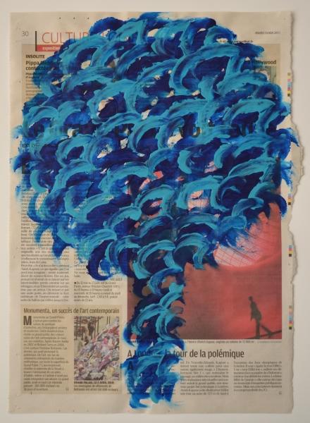 Arbre 10 mai 2011, acrylique sur papier journal, 40 x 28 cm