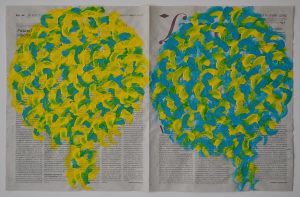 Arbres 30 juin 2011, acrylique sur double page de journal, 36 x 56 cm