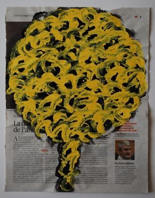 Arbre 28 décembre 2010, acrylique sur papier journal, 36 x 28 cm