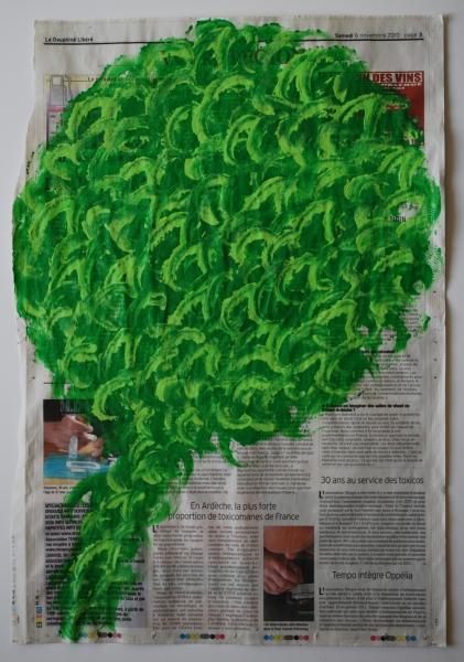 Arbre 6 novembre 2010, acrylique sur papier journal, 50 x 33 cm.