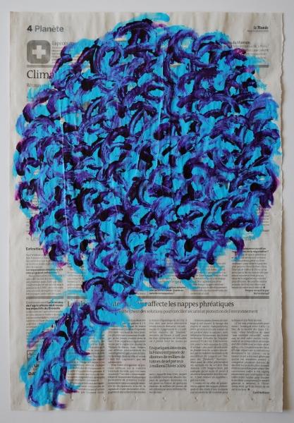 Arbre 5 octobre 2010, acrylique sur papier journal, 47 x 32 cm