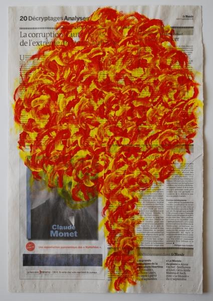 Arbre 9 septembre 2010, acrylique sur papier journal, 47 x 32 cm.