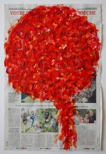 Arbre 9 août 2010, acrylique sur papier journal, 50 x 33 cm