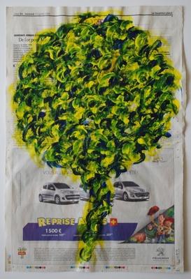 Arbre 23 juillet 2010, acrylique sur papier journal, 50 x 33 cm