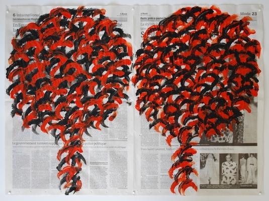 Arbres 9 mars 2011, acrylique sur double page de journal, 47 x 64 cm