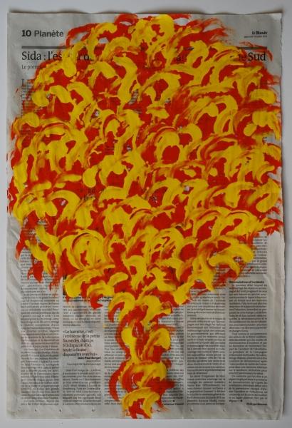Arbre 13 juillet 2011, acrylique sur papier journal, 47 x 32 cm