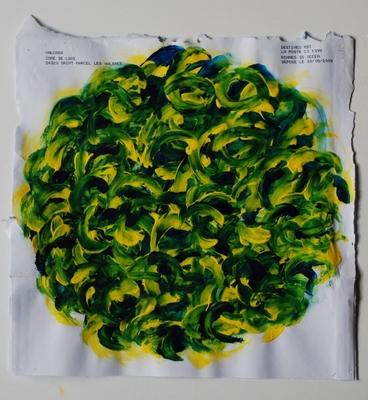 acrylique sur enveloppe postale, 32 x 32 cm.