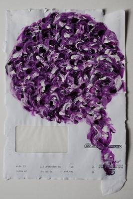 acrylique sur enveloppe postale, 35 x 23 cm.