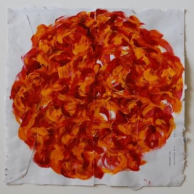 acrylique sur enveloppe postale, 23 x 23 cm