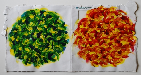 acrylique sur enveloppe postale, 23 x 46 cm