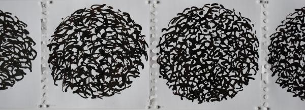 encre brune sur papier, éléments de 18,5 x 18,5 cm.