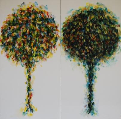 Arbres, 2002-2003, acrylique sur tissu marouflé sur bois, 100 x 50 cm (2x)