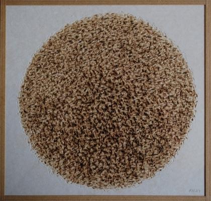 pyrogravure sur carton, 20,5 x 21,5 cm