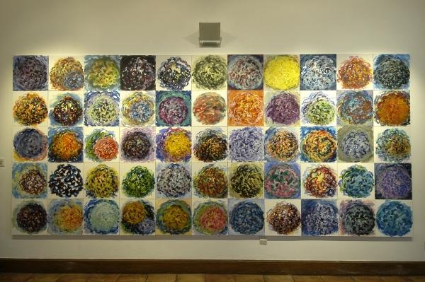 acrylique sur tissu marouflé sur bois, 1999-2001, 55 éléments de 39 x 39 cm.