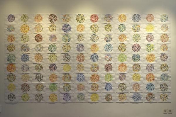 Carte du ciel, 2002, aquarelle sur papier, 108 éléments de 21 x 29,7 cm