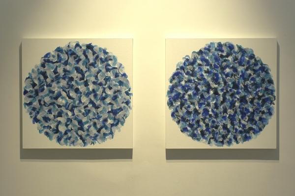 acrylique sur tissu marouflé sur bois, 2004-2005, 50 x 50 cm (2x)