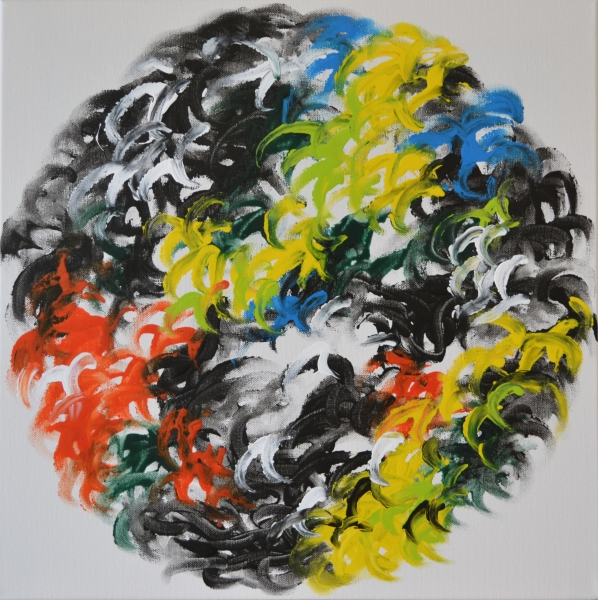 Mappemonde Peinture, acrylique/toile/chassis, 50 x 50 cm