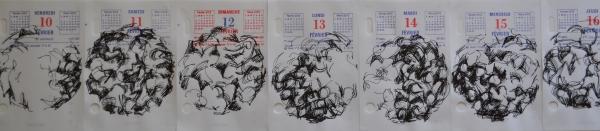 Mappemonde Ephéméride 2012, stylo plume sur papier, 366 éléments de 12 x 8 cm, détail. Continuité d