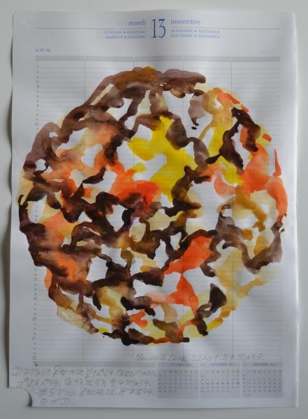 Mappemonde Agenda journalier 2012, aquarelle et crayon à papier sur papier, 29,7 x 21 cm