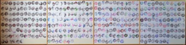 """Mappemonde Ephéméride 2011, """"Les quatre saisons"""", stylo bille / papier / bois, 98 x 406 cm. Du 1er janvier au 31 décembre 2011, j"""