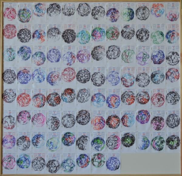 """Mappemonde Ephéméride 2011, """"Les quatre saisons"""", détail: la troisième saison, 98 x 101,5 cm"""