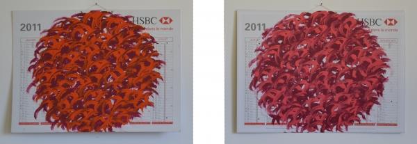acrylique sur Calendrier 2011, 40 x 55 cm, recto et verso