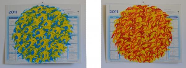 acrylique sur Calendrier 2011, 43 x 55 cm, recto et verso