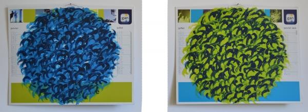 acrylique sur Calendrier 2011, 43 x 55 cm, recto et verso. Cette série comporte une quinzaine d