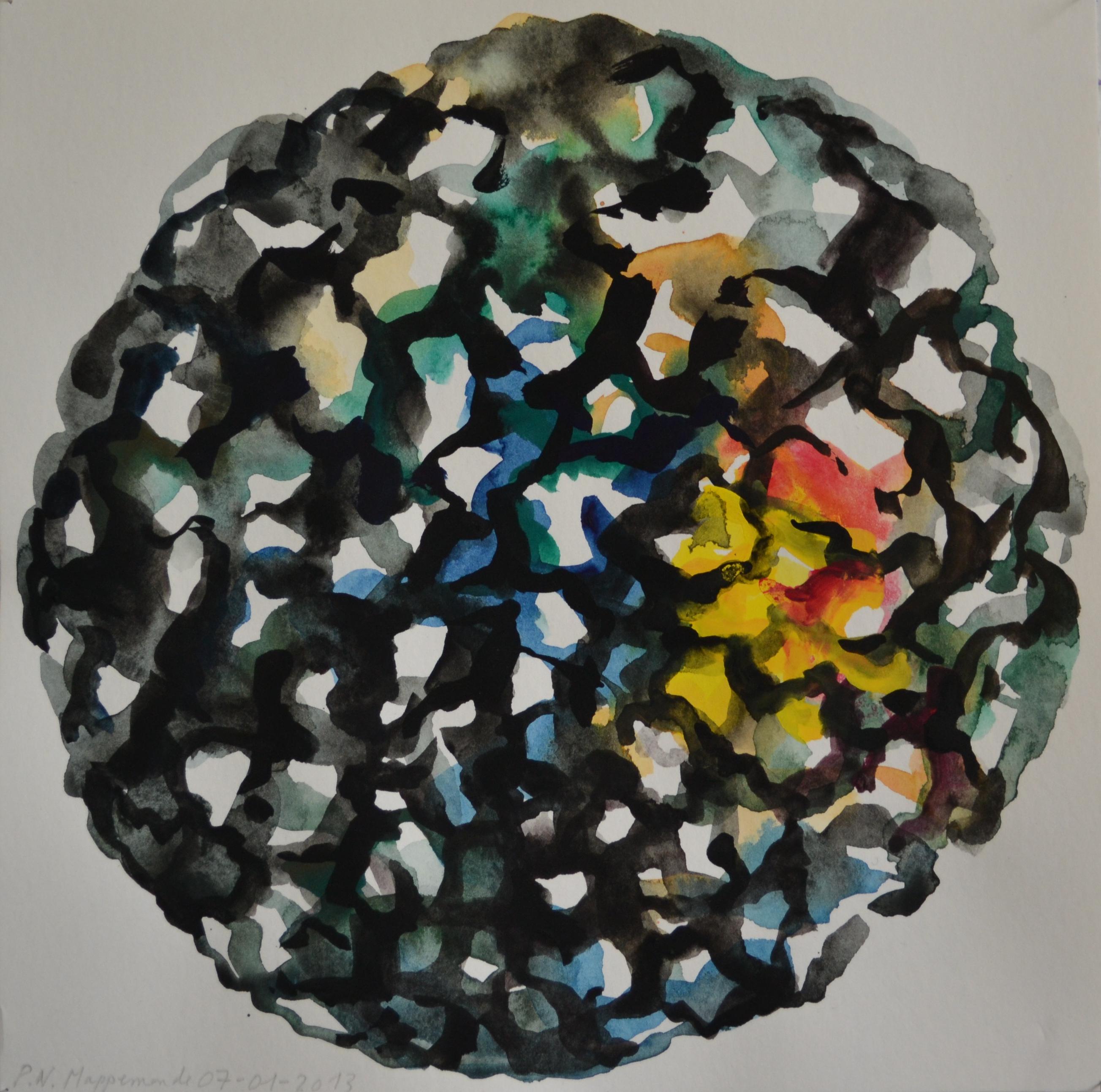 Mappemonde Peinture, gouache sur papier, 25 x 25 cm