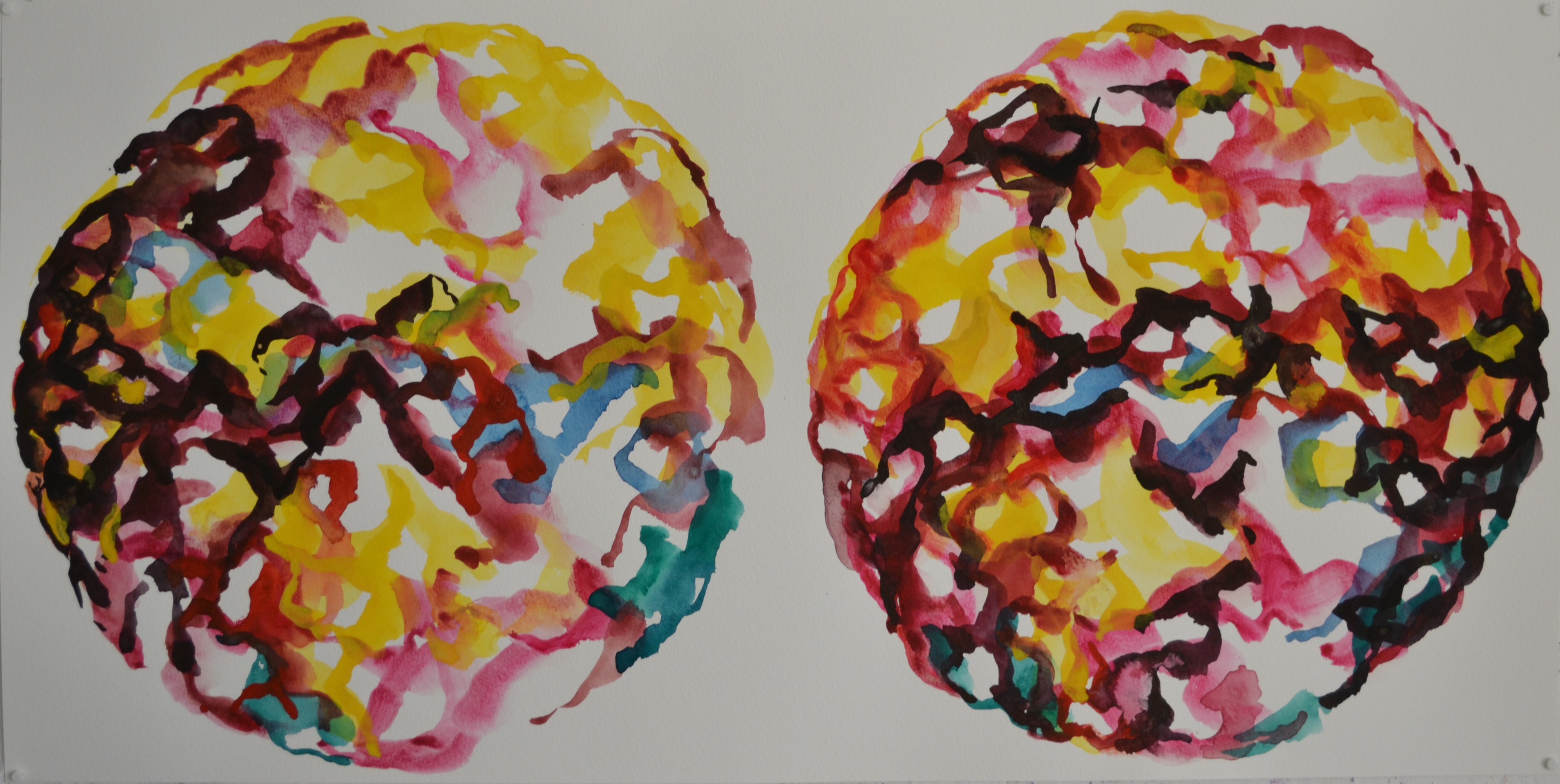 Mappemonde Peinture, gouache sur papier, 35 x 70 cm