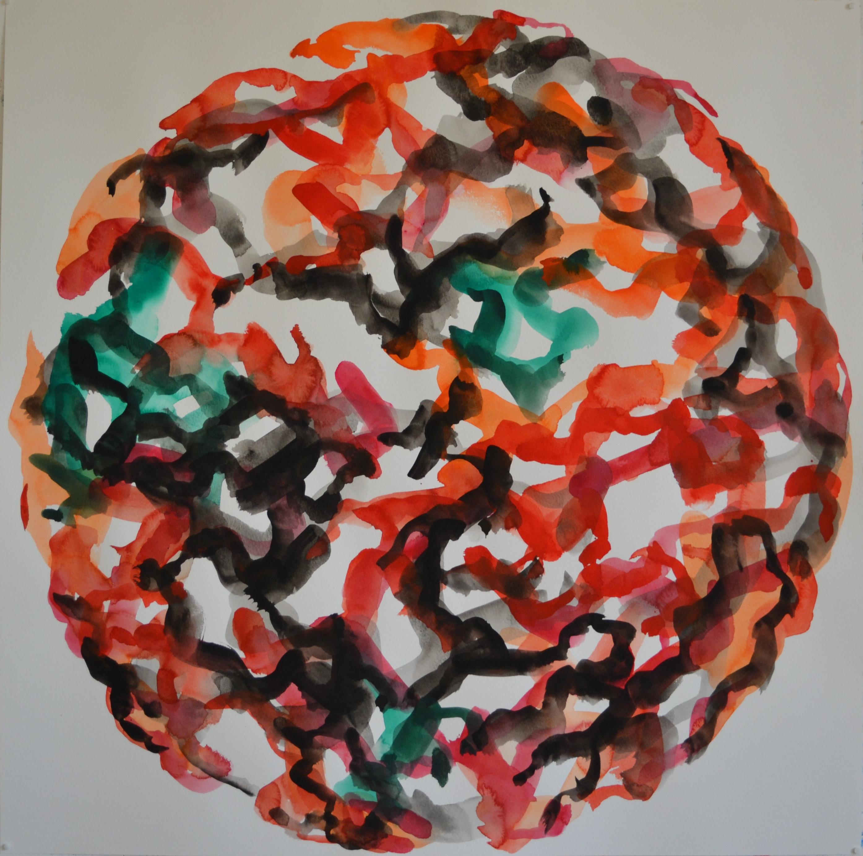 Mappemonde Peinture, gouache sur papier, 75 x 75 cm