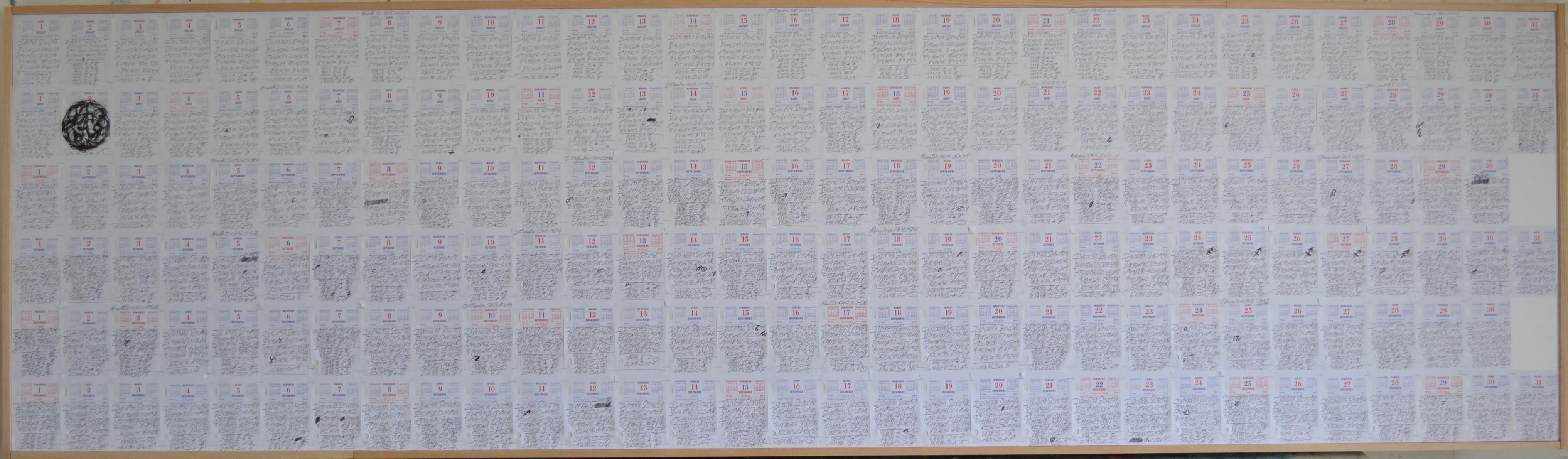 Mappemonde Ephéméride second semestre 2013, stylo bille et stylo plume / papier / bois, 74,5 x 260 cm