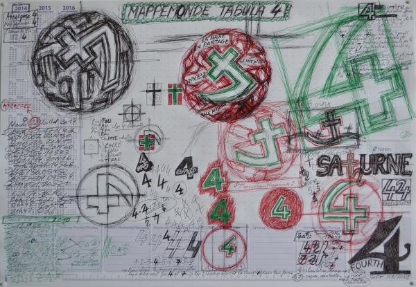 Mappemonde Tabula 4, stylo bille, stylo plume et graphite sur papier, 41 x 60 cm.