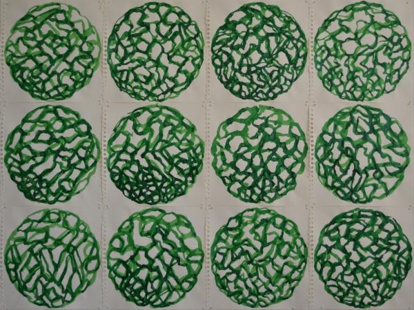 Mappemonde Encre, encre sur papier, éléments de 30 x 30 cm