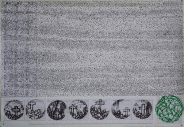 Mappemonde Tabula 6, stylo bille et stylo plume sur papier, 41 x 60 cm.