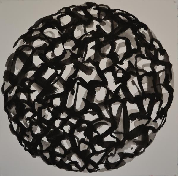 Mappemonde Peinture, gouache sur papier, 57 x 57 cm
