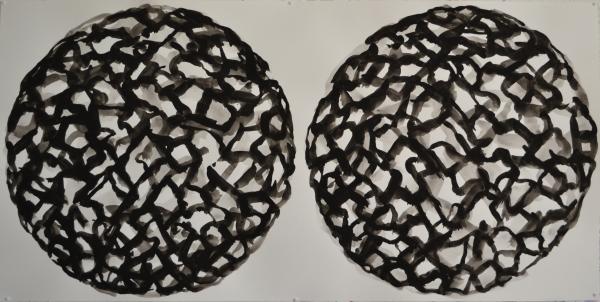 Mappemonde Peinture, gouache sur papier, 55 x 110 cm