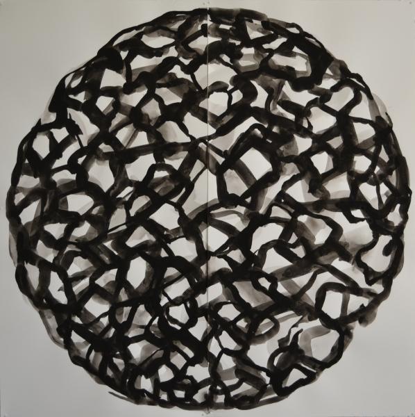 Mappemonde Peinture, gouache sur papier, 110 x 110 cm