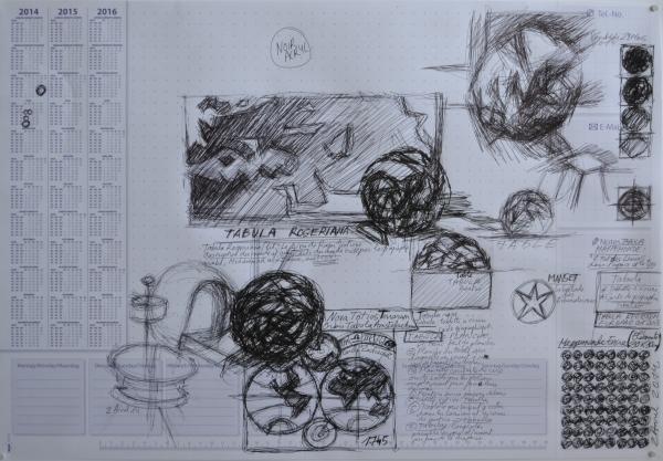Mappemonde Tabula 1, stylo bille sur papier, 41 x 60 cm. Griffonnages sur les feuilles d