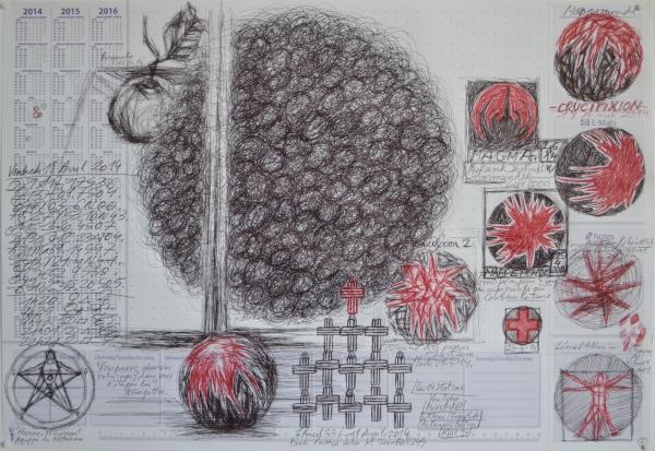 Mappemonde Tabula 2, stylo bille sur papier, 41 x 60 cm.