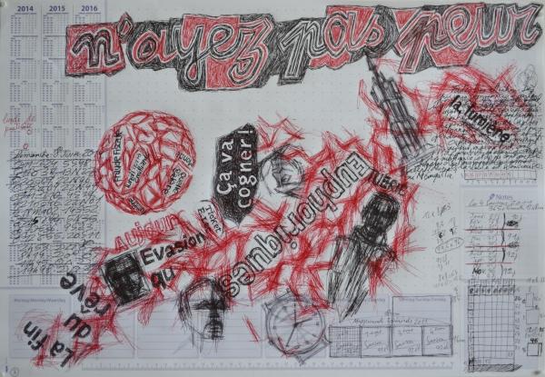 Mappemonde Tabula 3, stylo bille et stylo plume sur papier, 41 x 60 cm.