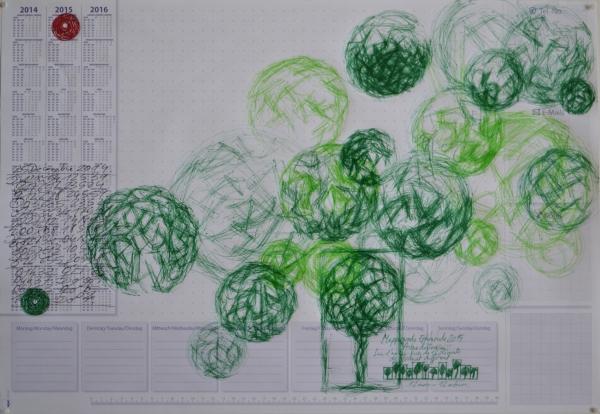 Mappemonde Tabula 7, stylo bille et stylo plume sur papier, 41 x 60 cm. Griffonnages sur les feuilles d