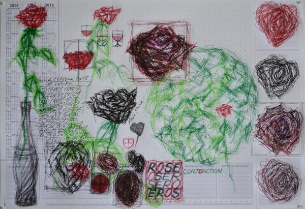 Mappemonde Tabula 8, stylo bille et stylo plume sur papier, 41 x 60 cm.