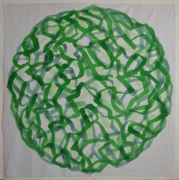 Mappemonde Peinture, acrylique sur tissu libre, 203 x 203 cm