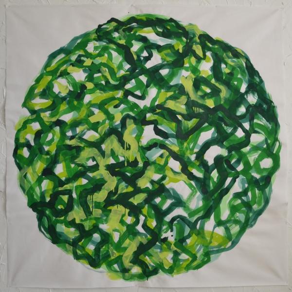 Mappemonde Peinture, acrylique sur tissu libre, 153 x 153 cm