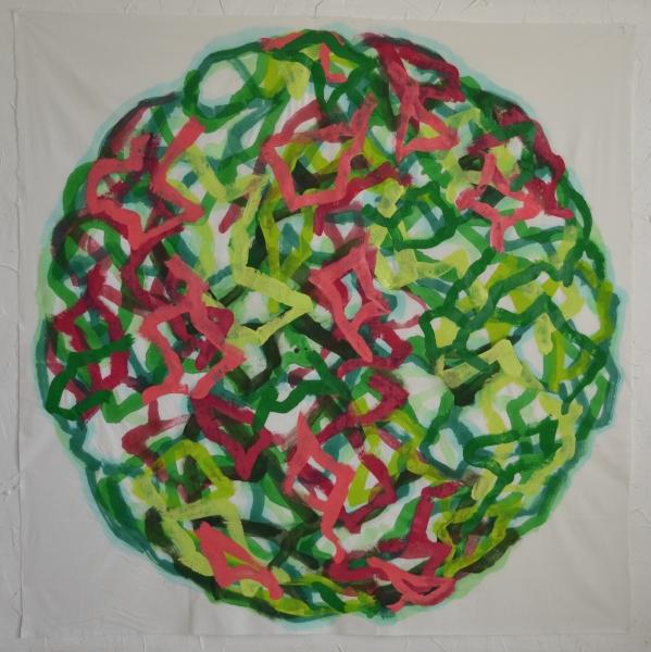 Mappemonde Peinture, acrylique sur tissu libre, 175 x 175 cm