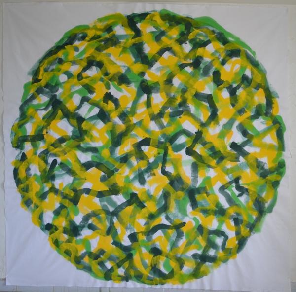 Mappemonde Peinture, acrylique sur tissu libre, 252 x 252 cm